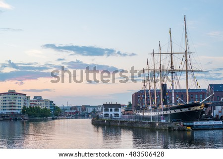 Bristol Waterfront, England, UK with Brunel's SS Great Britain #483506428