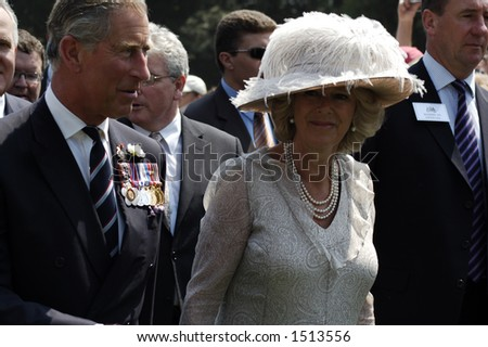 Britain's Prince Charles and his wife Camilla, the Duchess of Cornwall, arriving at WWI commemorations in the Somme, northern France, July 1, 2006 - stock photo