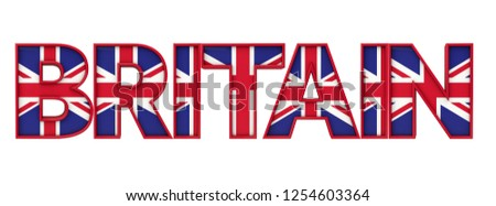 Britain word made from union jack flag lettering. 3D Rendering #1254603364