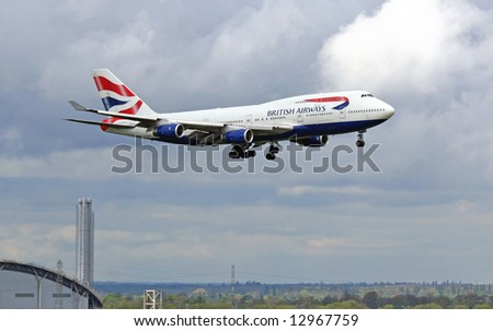 British Airways place approaching terminal 5 at Heathrow Airport in London