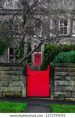 British architecture style, UK - beautiful Georgian front door. Front red Door and front red gate of an Old English Town House  #1272799093