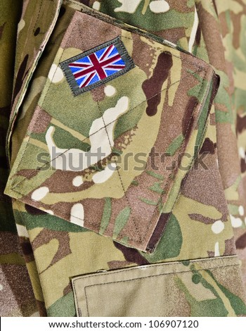 British army camouflage uniform.