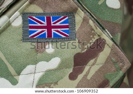 British army camouflage uniform with Union Jack flag