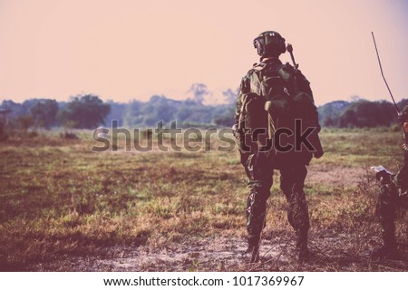 British Army soldier during the military operation in the city. war, army, technology and people concept #1017369967