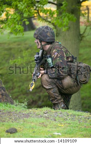 British Army Soldier on training exercise