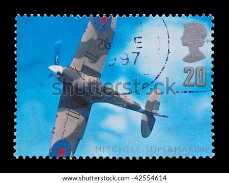 BRITISH: aviation engineering commemorative mail stamp featuring the WW2 Supermarine Spitfire, circa 1997