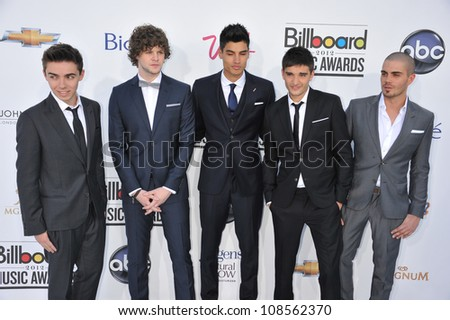 "British boy band members (L-R) Nathan Sykes, Jay McGuiness, Siva Kaneswaran, Tom Parker and Max George of ""The Wanted"" arrive at the 2012 Billboard Music Awards held at the MGM Grand Garden Arena."