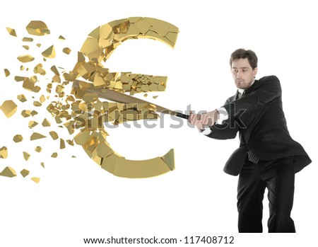 British businessman breaks the euro with a baseball bat. Wooden bat.