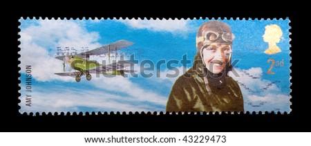 BRITISH - CIRCA 2003: commemorative mail stamp featuring flight pioneer, Amy Johnson, circa 2003
