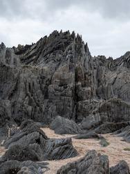 British Coastal Jagged Rock Formations with Sandy Beach
