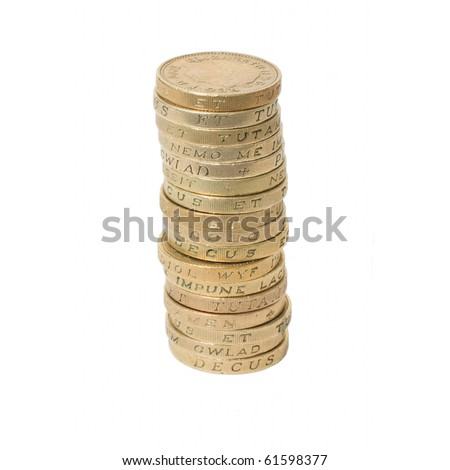 British coins arranged in stack