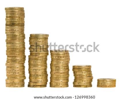 British coins arranged on a white background