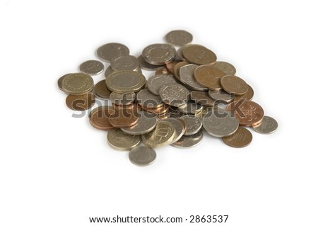 British Coins isolated on a white background