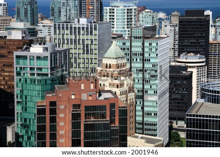 British Columbia. Downtown Vancouver. Aerial View.
