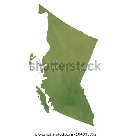 British Columbia province of Canada map in old green paper isolated on white background.