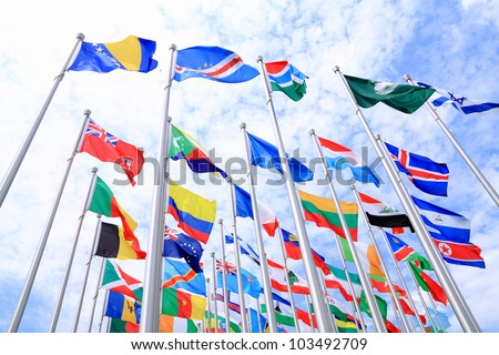 British Commonwealth and France flags and world national flags are flying