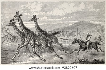 British explorer sir Samule Baker hunting Giraffe. By unidentified author, published on Le Tour du Monde, Paris, 1867