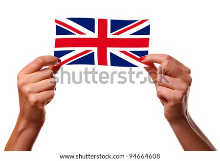 British flag and woman hands. Isolated on white.
