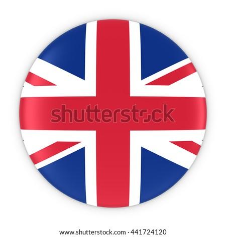 British Flag Button - Flag of the UK Badge 3D Illustration