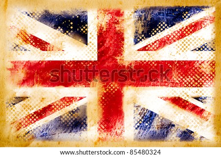 british flag grunge  on old vintage paper - stock photo