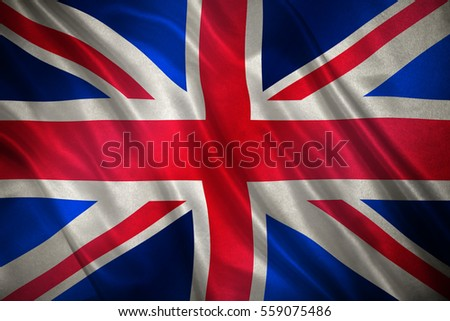 British flag known as the Union Jack on cloth #559075486