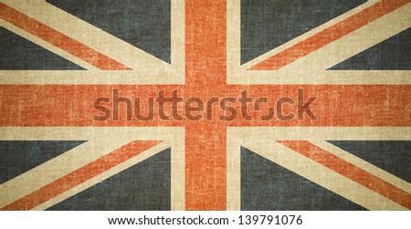 british flag on old canvas...