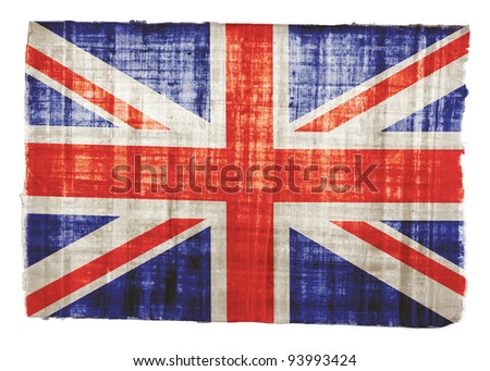 British flag on original papyrus background