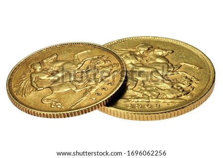 British full and half Sovereign gold coins isolated on white background ストックフォト ©