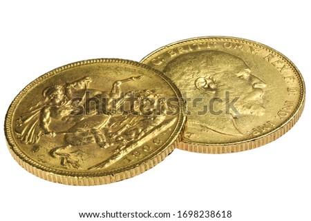 British full Sovereign gold coins (Edward VII) isolated on white background ストックフォト ©