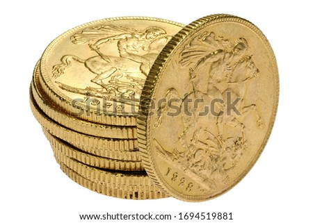 British full Sovereign gold coins isolated on white background ストックフォト ©