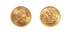 British gold coin of Queen Elizabeth II front and back of fine gold, isolated on pure white background