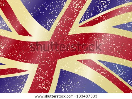 British grunge flag. Grunge effect can be cleaned easily. Raster version, vector file available in portfolio.