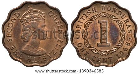 British Honduras silver coin 1 one cent 1968, head of Queen Elizabeth II right, large digit of denomination within wreath, date below,