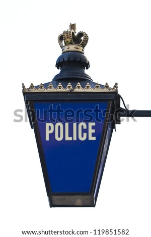 British illuminated blue gold and white police sign - stock photo