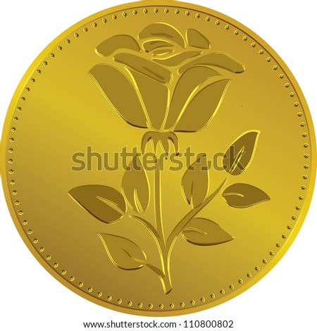 British money gold coin with the image of the rose flower (Rosa Tudor - the emblem of England)