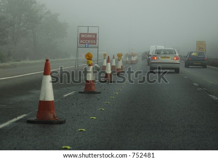 british motorway driving in foggy conditions