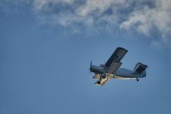 British old aircraft flying above Riga