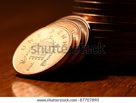 British One Penny - stock photo