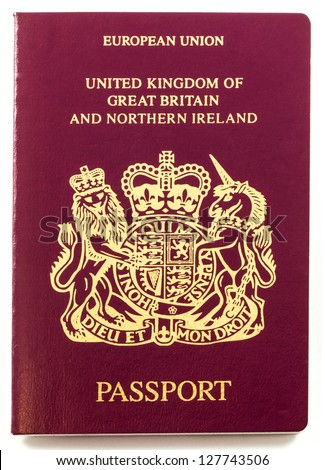 British Passport isolated on white background