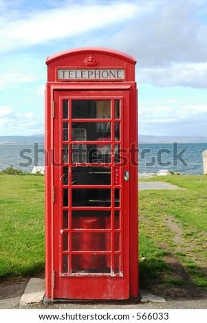 British phone box in Scottish fishing village