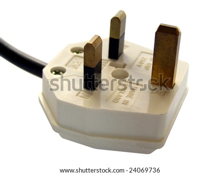 British plug with cable isolated over white background