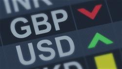 British pound falling, American dollar rising, exchange rate fluctuation, screen