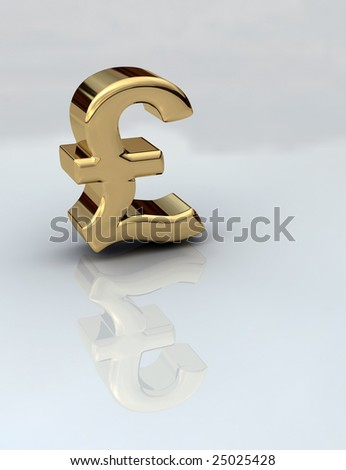 British Pound sign in gold 3D on a reflective background