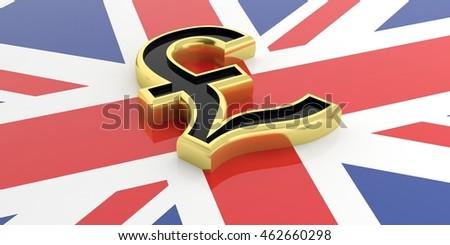 British pound symbol on a UK flag. 3d illustration