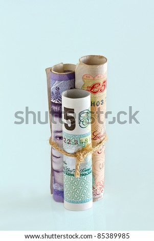 British Pounds Bank Notes.  Money is tied up concept