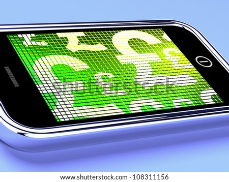 British Pounds Signs On A Mobile Smartphone Screen