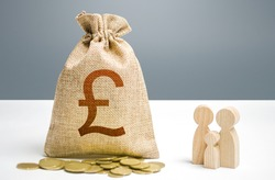 British pounds sterling money bag with money and family figurines. Investments in human capital, culture social projects. Providing assistance to citizens. Financial support for social institutions.