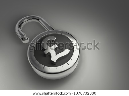 British Pounds Sterling that are unlocked, unprotected and unsecured as 3d rendering. A combination lock is unlocked with a British Pound Sterling sign representing unsecured vulnerable money.