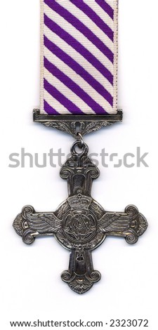 British (RAF) Distinguished Flying Cross with a post 1919 ribbon. Medals issued prior to 1919 were suspended from a ribbon with horizontal purple and white  stripes.
