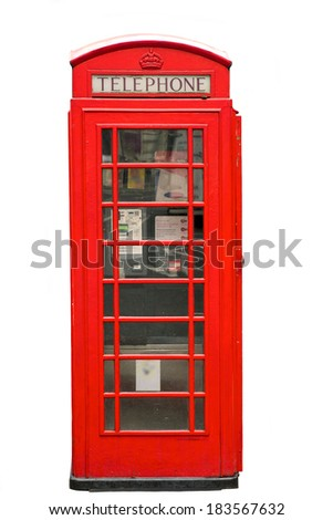 British Red Phone Booth isolated on white #183567632